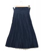 UNUSED(アンユーズド)の古着「シルクプリーツスカート」|ネイビー