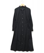 ANAYI(アナイ)の古着「ベルテッドギャザーシャツワンピース」 ブラック