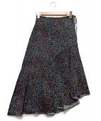 MACPHEE(マカフィー)の古着「キュプラコットンプリントアシメスカート」|ブラック
