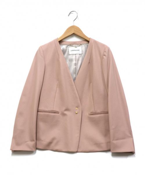 La TOTALITE(ラトータリテ)La TOTALITE (ラトータリテ) フィラメントカルゼVネックジャケット ピンク サイズ:36の古着・服飾アイテム