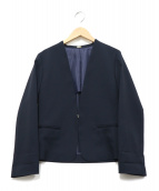 ROPE(ロペ)の古着「ノーカラージャケット」|ネイビー