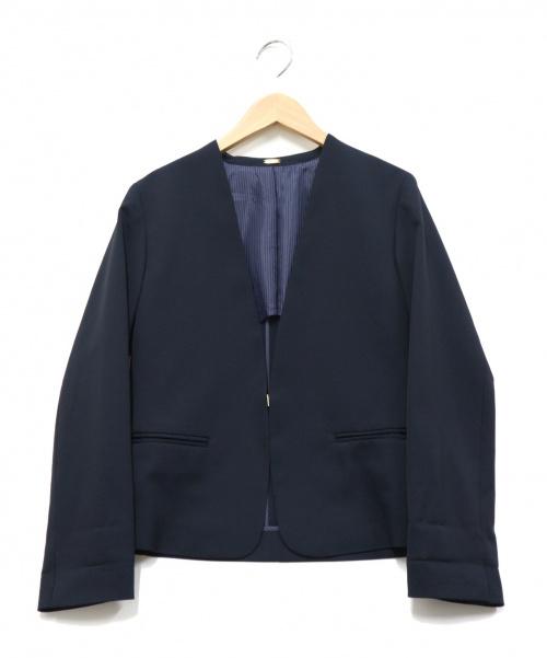 ROPE(ロペ)ROPE (ロペ) ノーカラージャケット ネイビー サイズ:36の古着・服飾アイテム