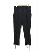 YohjiYamamoto pour homme(ヨウジヤマモトプールオム)の古着「裾レースアップウールギャバジンタックパンツ」|ブラック