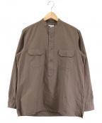 Salvatore Piccolo(サルヴァトーレ・ピッコロ)の古着「バンドカラーPOシャツ」 ブラウン