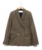 Rouge vif(ルージュヴィフ)の古着「チェックダブルテーラードジャケット」 ベージュ