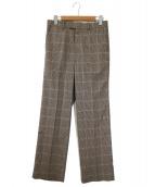 Adam et Rope(アダムエロペ)の古着「ウールセンタープレスパンツ」|ブラウン