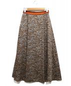 ROPE(ロペ)の古着「レオパードタックスカート」|ブラウン