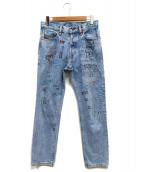 DIESEL(ディーゼル)の古着「ペイント加工デニムパンツ」 ブルー