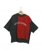 ALMOSTBLACK(オールモストブラック)の古着「チェックレイヤードカットソー」 ブラック×レッド