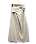 journal standard Lessage(ジャーナルスタンダード レサージュ)の古着「ストライプノットスカート」|ベージュ