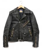 blackmeans(ブラックミーンズ)の古着「カウレザーダブルライダースジャケット」|ブラック