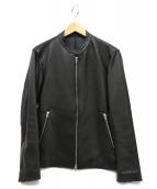 LIDnM(リドム)の古着「カウレザーシングルライダースジャケット」 ブラック