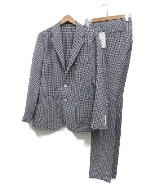 BEAMS HEART(ビームスハート)BEAMS HEART (ビームスハート) ギンガムシアサッカーセットアップ ブルー サイズ:48の古着・服飾アイテム