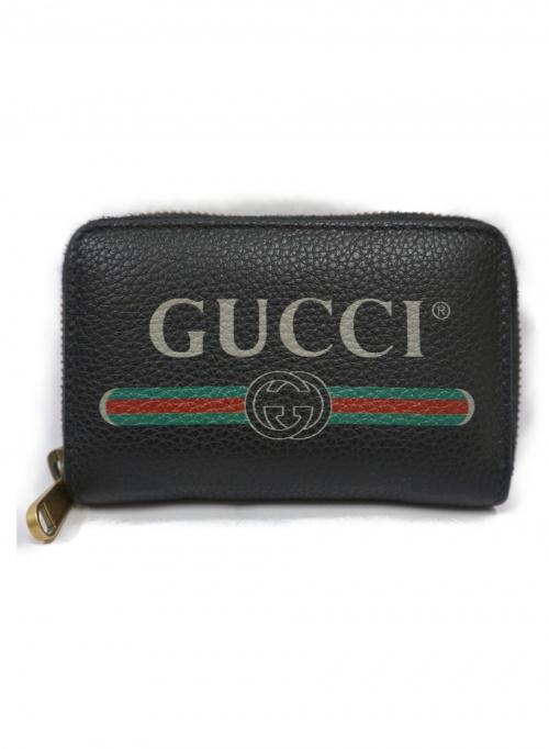 GUCCI(グッチ)GUCCI (グッチ) グッチプリントカード&コインケース ブラック 496319 498075の古着・服飾アイテム