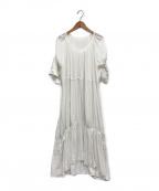 emmi atelier(エミアトリエ)の古着「ギャザーロングワンピース」|ホワイト