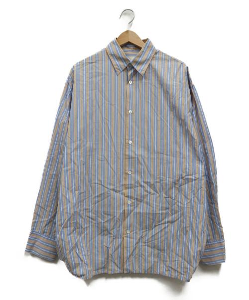 NEON SIGN(ネオンサイン)NEON SIGN (ネオンサイン) ビックシルエットストライプシャツ ブルー サイズ:46 CONNECTORS SHIRT MULTI STRIPEの古着・服飾アイテム