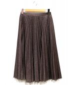 MAX&Co.(マックスアンドコー)の古着「ラメプリーツスカート」|ボルドー