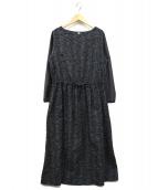 bulle de savon(ビュルデサボン)の古着「つるくさ刺繍ワンピース」 グレー×ネイビー