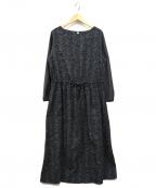 bulle de savon(ビュル デ サボン)の古着「つるくさ刺繍ワンピース」|グレー×ネイビー