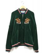 JohnUNDERCOVER(ジョンアンダーカバー)の古着「トラ刺繍ベロアスカジャン」|グリーン