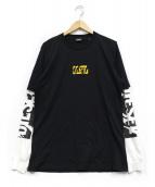 DIESEL(ディーゼル)の古着「ロゴプリントレイヤードカットソー」|ブラック