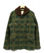 DENIM & SUPPLY RALPH LAUREN(デニムアンドサプライ ラルフローレン)の古着「襟ボアチェックPコート」|グリーン