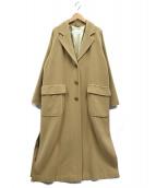 MaxMara(マックスマーラ)の古着「アンゴラ混ロングコート」|ベージュ