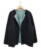 HUMAN WOMAN(ヒューマンウーマン)の古着「WNメルトンバイカラーコート」|グリーン×ネイビー