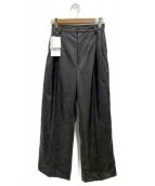 ()の古着「エコレザーワイドストレートパンツ」|ブラック