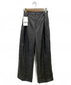 TARO HORIUCHI(タロウホリウチ)の古着「エコレザーワイドストレートパンツ」 ブラック