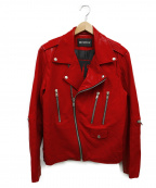MISBHV(ミスビヘイブ)の古着「バックプリントカーフレザーライダースジャケット」|レッド