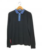 PRADA()の古着「ロングスリーブポロシャツ」|ブルー×ブラック