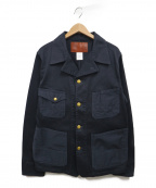 CALEE()の古着「TWO TONE PIQUE COVERALL JACKET」|ネイビー