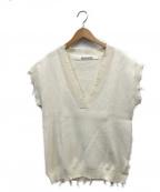 PERVERZE(パーバーズ)の古着「Crash Wide Knit Vest」|アイボリー