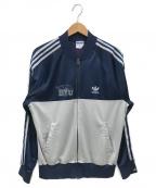adidas Originals()の古着「切替プリントトラックジャケット」 ネイビー×グレー