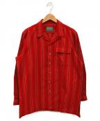 POLO COUNTRY(ポロカントリー)の古着「ストライプオープンカラーシャツ」 レッド