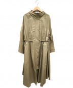 BEARDSLEY(ビアズリー)の古着「ロングジップアップスプリングコート」 ベージュ