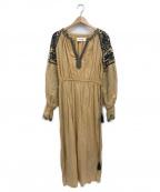 sara mallika(サラマリカ)の古着「コットンリネン刺繍ワンピース」|ベージュ