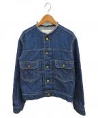 IENA()の古着「タックデニムノーカラーブルゾン」|ブルー