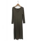 theory(セオリー)の古着「Crepe Knit Rib Long Dress」 カーキ