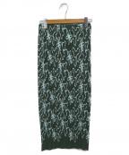 PLEATS PLEASE()の古着「総柄プリーツスカート」 グリーン×ブルー