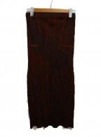 PLEATS PLEASE()の古着「転写プリントプリーツスカート」 ブラウン