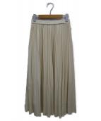 ROPE(ロペ)の古着「レザー風矢羽プリーツスカート」|ホワイト