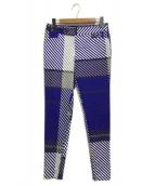 ISSEY MIYAKE(イッセイミヤケ)の古着「裾ジップ総柄パンツ」|ブルー