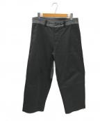 Porter Classic(ポータークラシック)の古着「切替ワイドパンツ」|グレー×ブラック