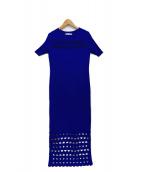 UN3D.(アンスリード)の古着「カットワークニットワンピース」|ブルー