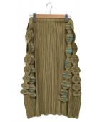 PLEATS PLEASE(プリーツプリーズ)の古着「ロゴベルト付プリーツスカート」|ベージュ