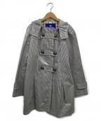 BURBERRY BLUE LABEL()の古着「ポリウレタンコーティングストライプコート」|グレー×ホワイト
