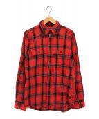 ()の古着「フランネルチェックシャツ」|レッド×ブラック
