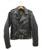 VANSON(バンソン)の古着「レザーダブルライダースジャケット」 ブラック